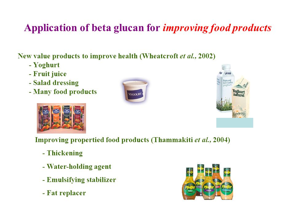 Application of beta glucan for improving food products New value products to improve health (Wheatcroft et al., 2002) - Yoghurt - Fruit juice - Salad