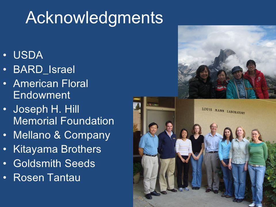 Acknowledgments USDA BARD_Israel American Floral Endowment Joseph H.