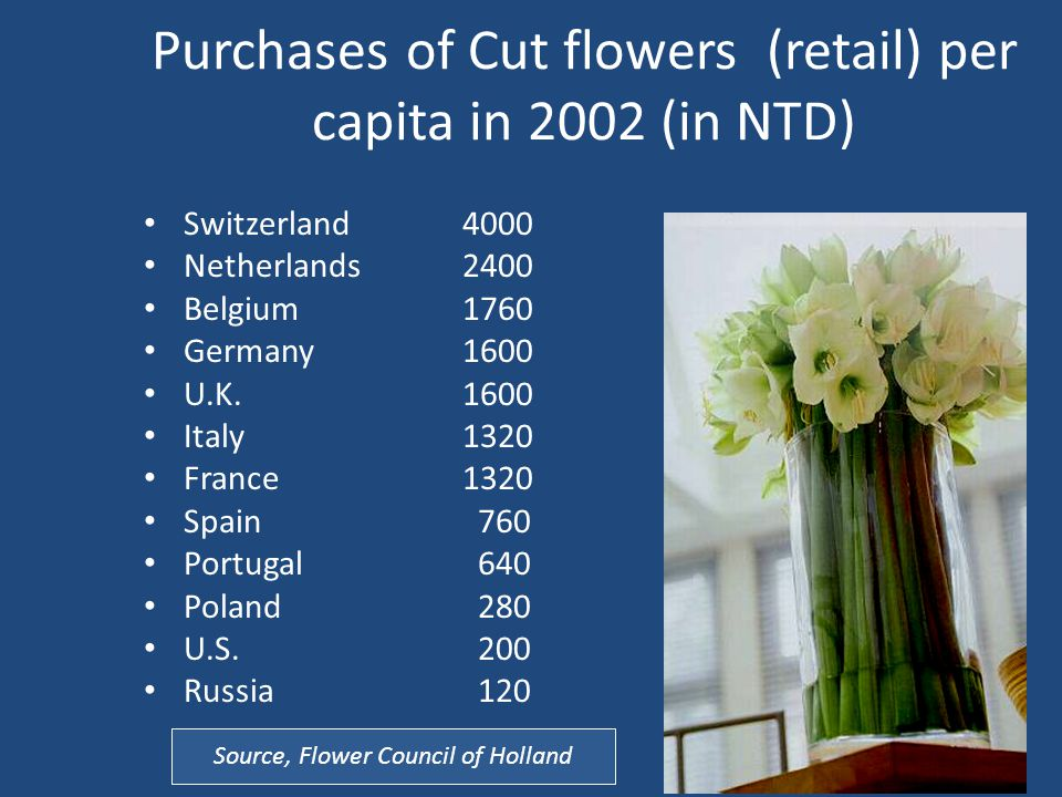 Purchases of Cut flowers (retail) per capita in 2002 (in NTD) Switzerland4000 Netherlands2400 Belgium1760 Germany1600 U.K.1600 Italy1320 France1320 Spain 760 Portugal 640 Poland 280 U.S.