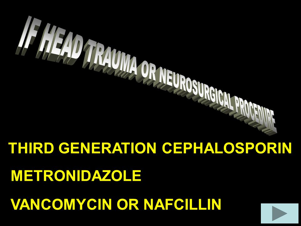 THIRD GENERATION CEPHALOSPORIN METRONIDAZOLE VANCOMYCIN OR NAFCILLIN