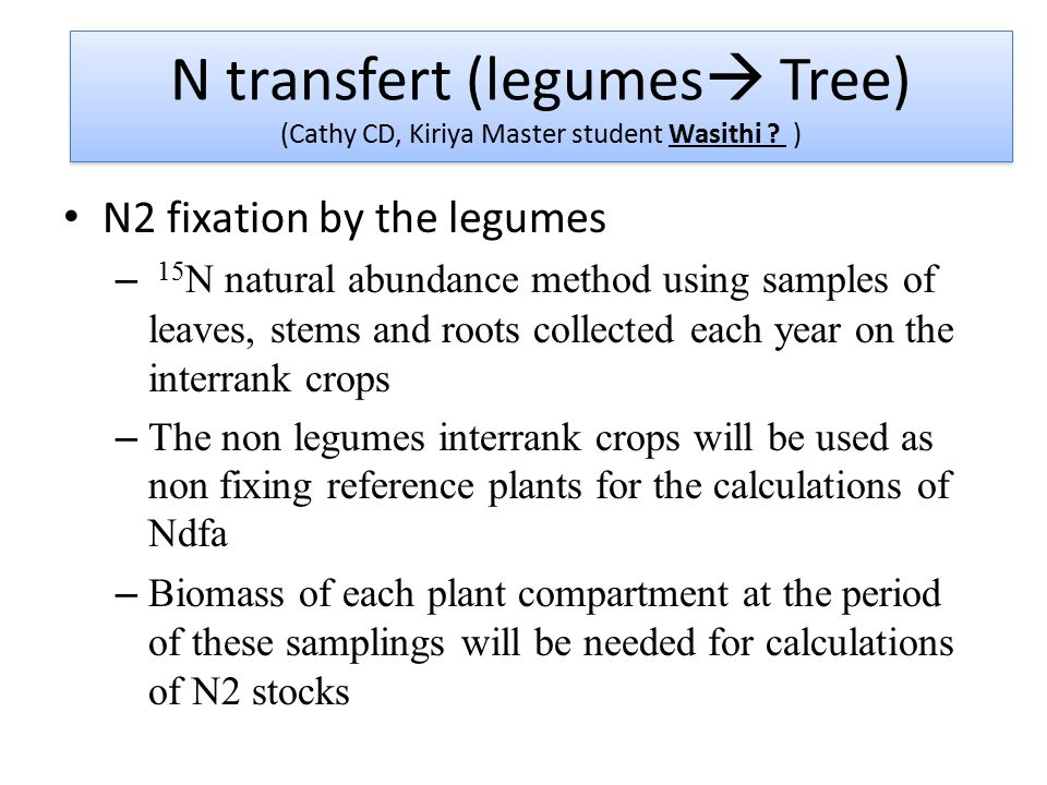 N2 fixation by the legumes – 15 N natural abundance method using samples of leaves, stems and roots collected each year on the interrank crops – The non legumes interrank crops will be used as non fixing reference plants for the calculations of Ndfa – Biomass of each plant compartment at the period of these samplings will be needed for calculations of N2 stocks N transfert (legumes  Tree) (Cathy CD, Kiriya Master student Wasithi .