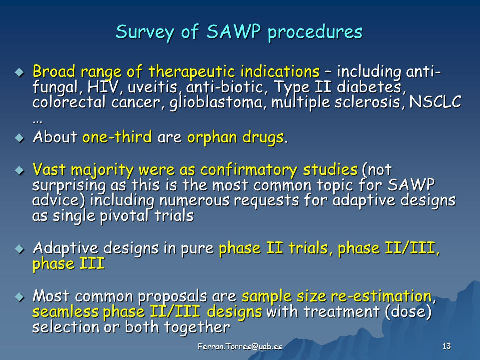 Survey of SAWP procedures  Broad range of therapeutic indications – including anti- fungal, HIV, uveitis, anti-biotic, Type II diabetes, colorectal c