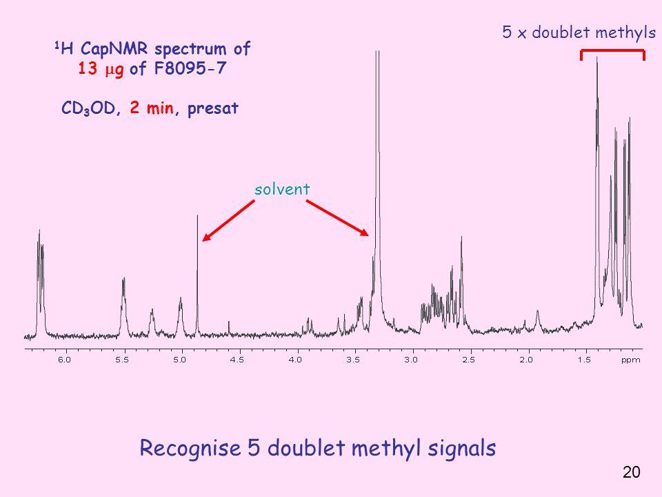 1 H CapNMR spectrum of 13  g of F8095-7 CD 3 OD, 2 min, presat Recognise 5 doublet methyl signals solvent 5 x doublet methyls 20