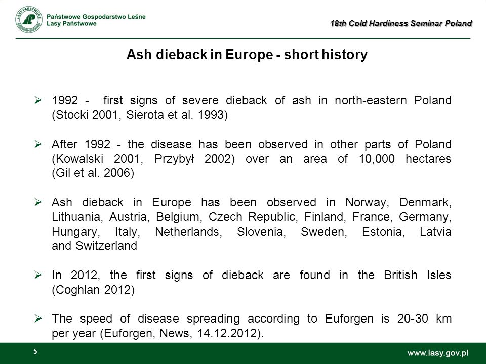 5 Ash dieback in Europe - short history  1992 - first signs of severe dieback of ash in north-eastern Poland (Stocki 2001, Sierota et al.