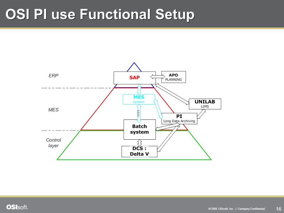 16 © 2008 OSIsoft, Inc. | Company Confidential OSI PI use Functional Setup