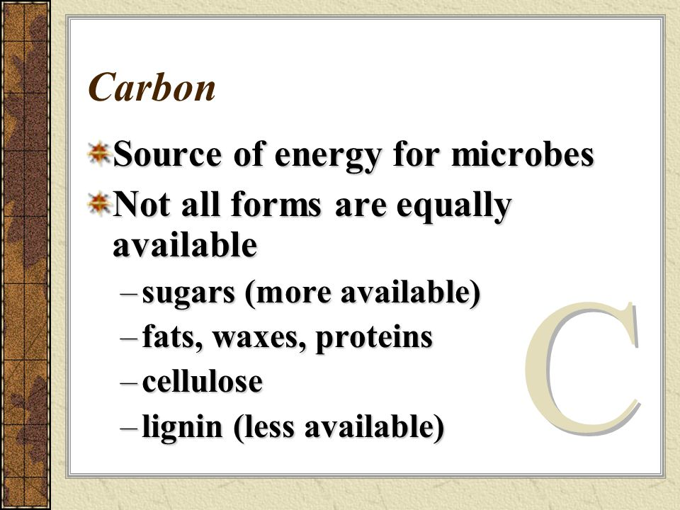Carbon Source of energy for microbes Not all forms are equally available –sugars (more available) –fats, waxes, proteins –cellulose –lignin (less available)