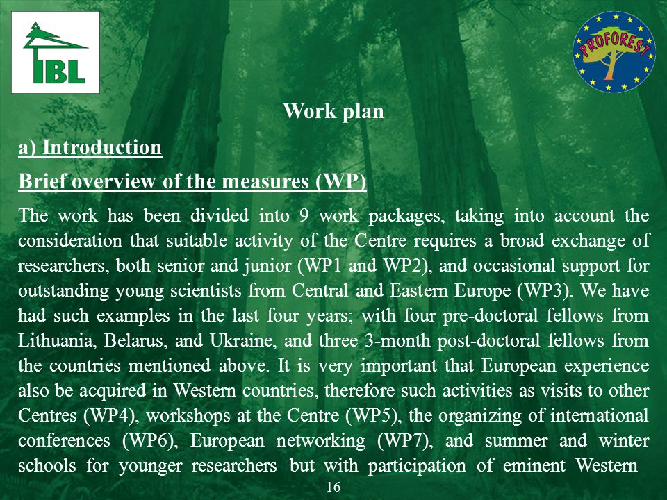 Work plan a) Introduction Brief overview of the measures (WP) The work has been divided into 9 work packages, taking into account the consideration th