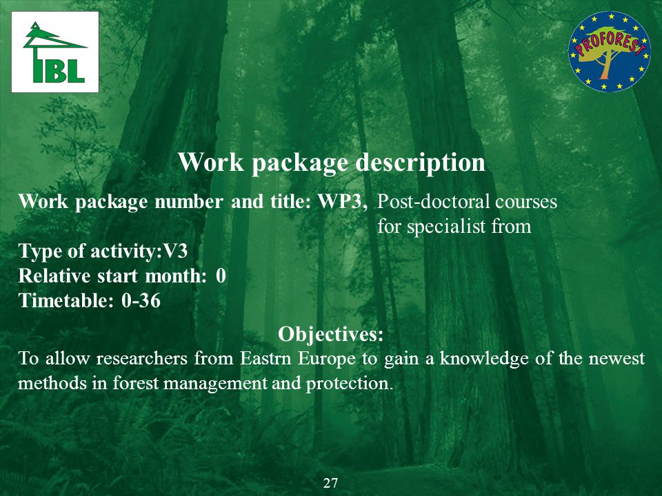 Work package description Work package number and title: WP3,Post-doctoral courses for specialist from Type of activity:V3 Relative start month: 0 Time