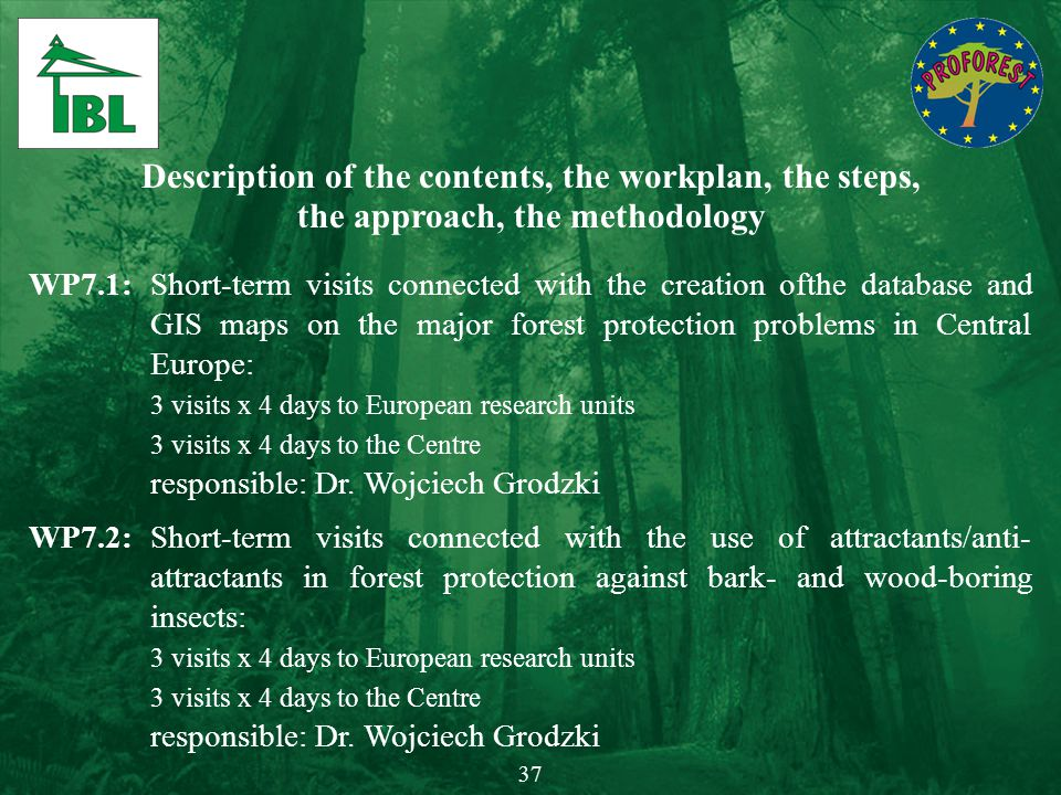 Description of the contents, the workplan, the steps, the approach, the methodology WP7.1:Short-term visits connected with the creation ofthe database