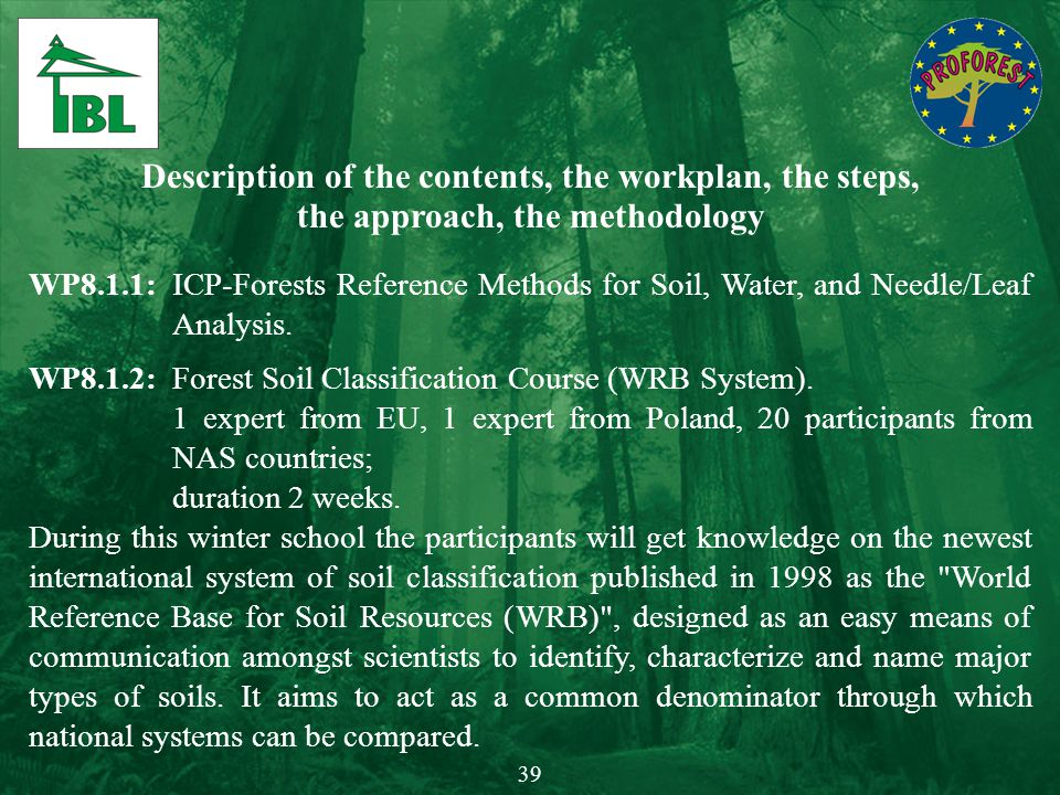 Description of the contents, the workplan, the steps, the approach, the methodology WP8.1.1:ICP-Forests Reference Methods for Soil, Water, and Needle/
