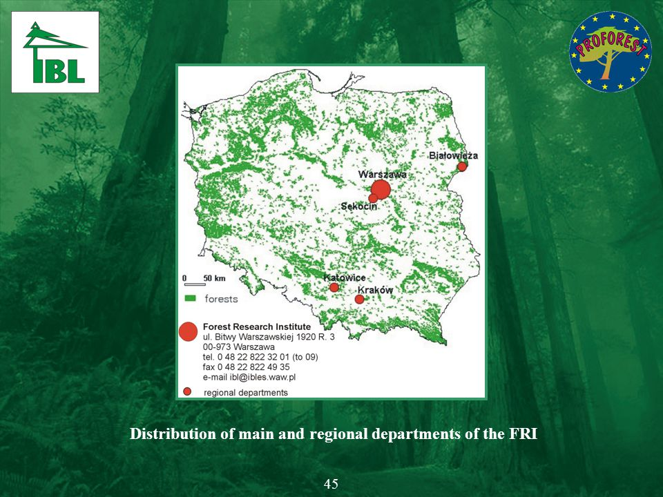 Distribution of main and regional departments of the FRI 45