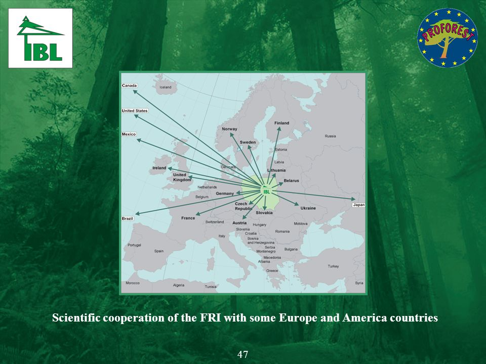 Scientific cooperation of the FRI with some Europe and America countries 47