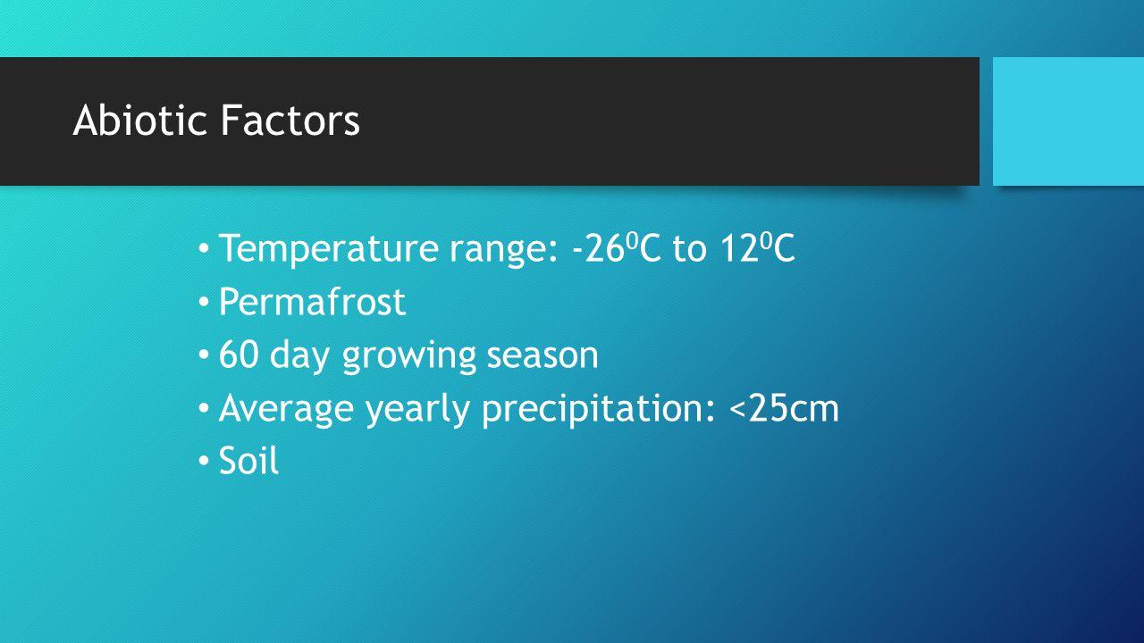 Abiotic Factors Temperature range: -26 0 C to 12 0 C Permafrost 60 day growing season Average yearly precipitation: <25cm Soil