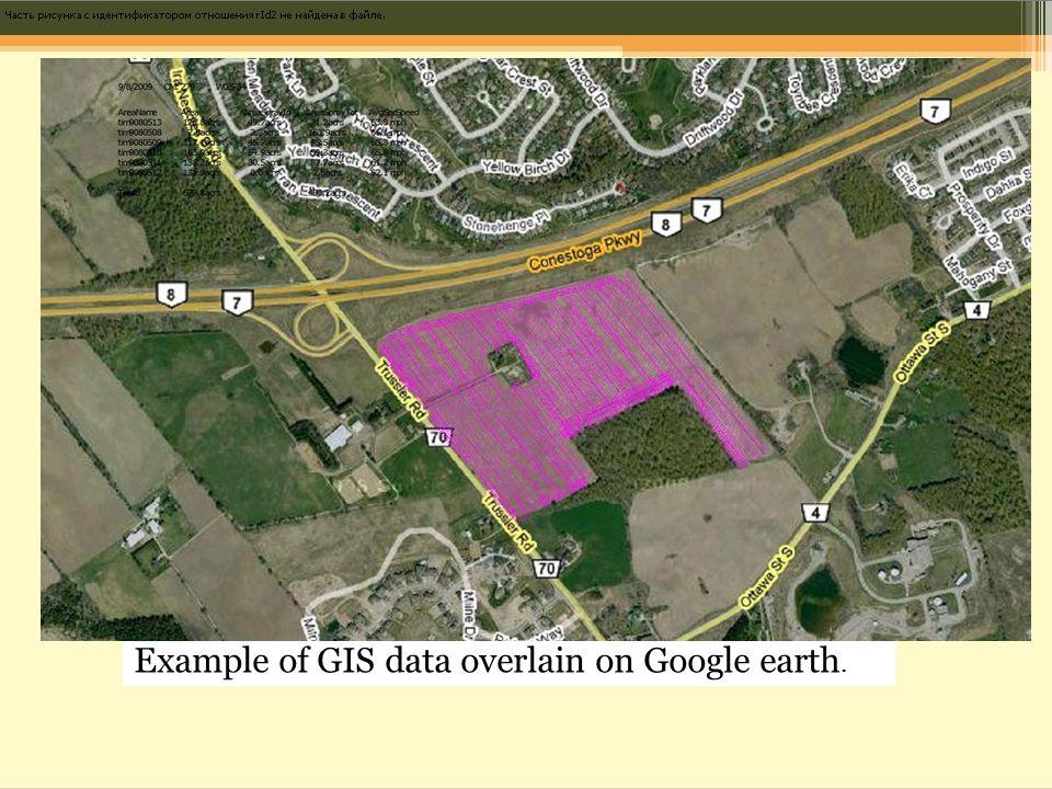 Example of GIS data overlain on Google earth.