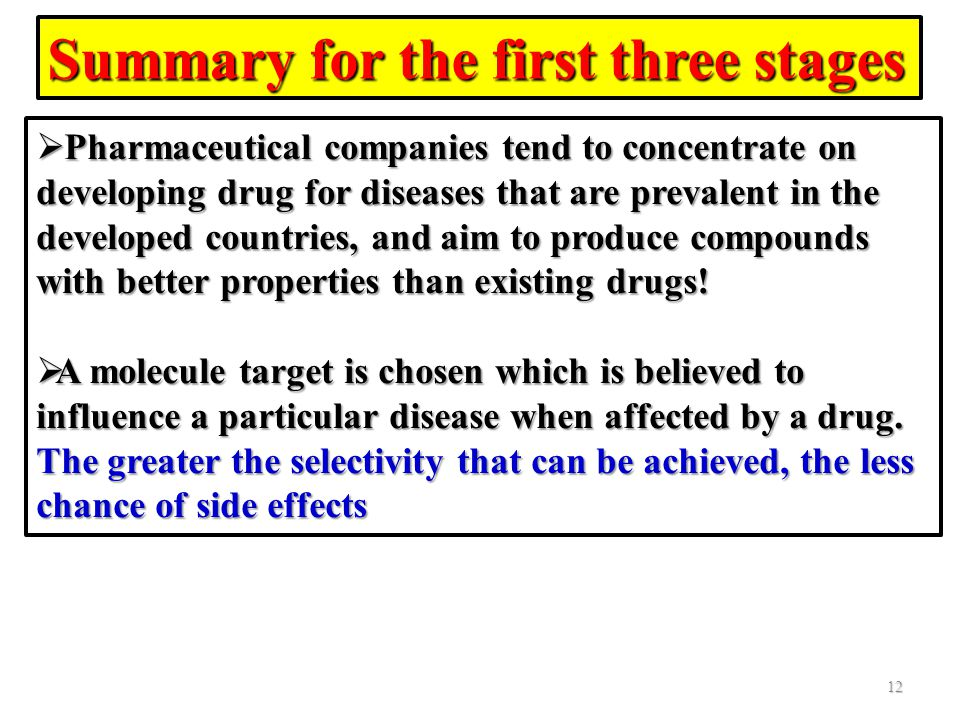Summary for the first three stages 12  Pharmaceutical companies tend to concentrate on developing drug for diseases that are prevalent in the develop