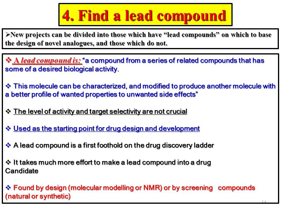 """ New projects can be divided into those which have """"lead compounds"""" on which to base the design of novel analogues, and those which do not. 4. Find a"""