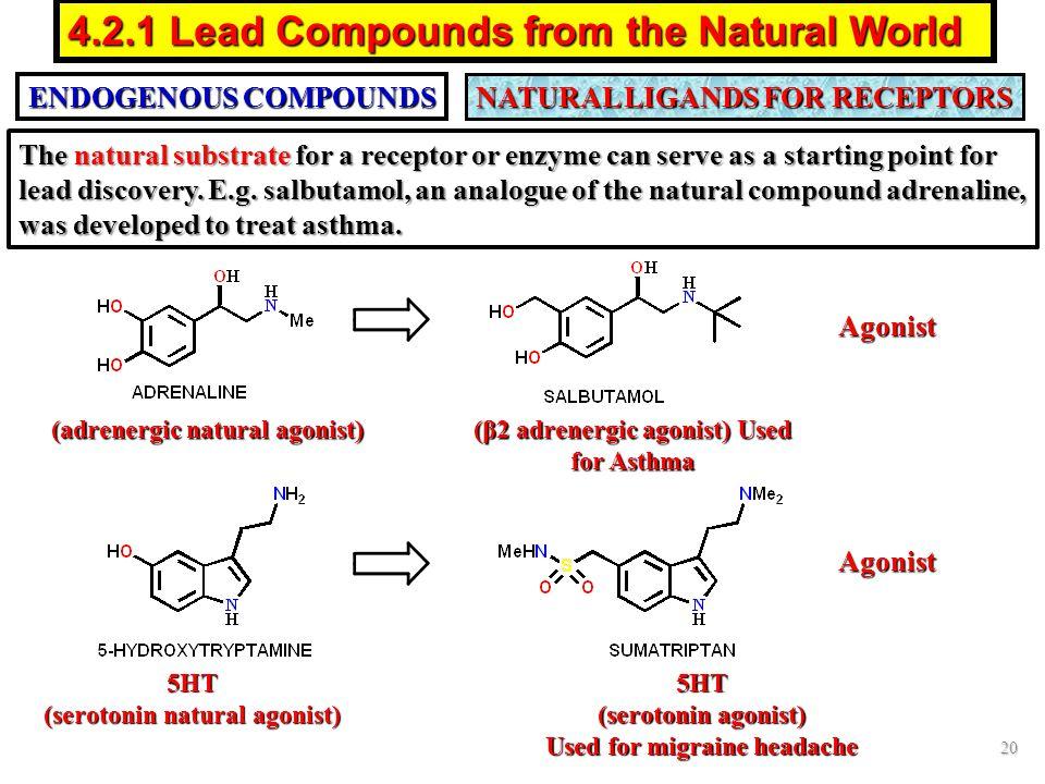 ENDOGENOUS COMPOUNDS NATURAL LIGANDS FOR RECEPTORS Agonist Agonist 20 4.2.1 Lead Compounds from the Natural World 5HT (serotonin natural agonist) 5HT