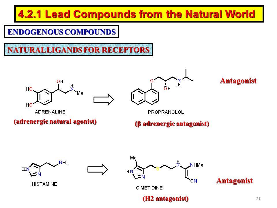 Antagonist Antagonist ENDOGENOUS COMPOUNDS NATURAL LIGANDS FOR RECEPTORS 21 4.2.1 Lead Compounds from the Natural World (adrenergic natural agonist) (