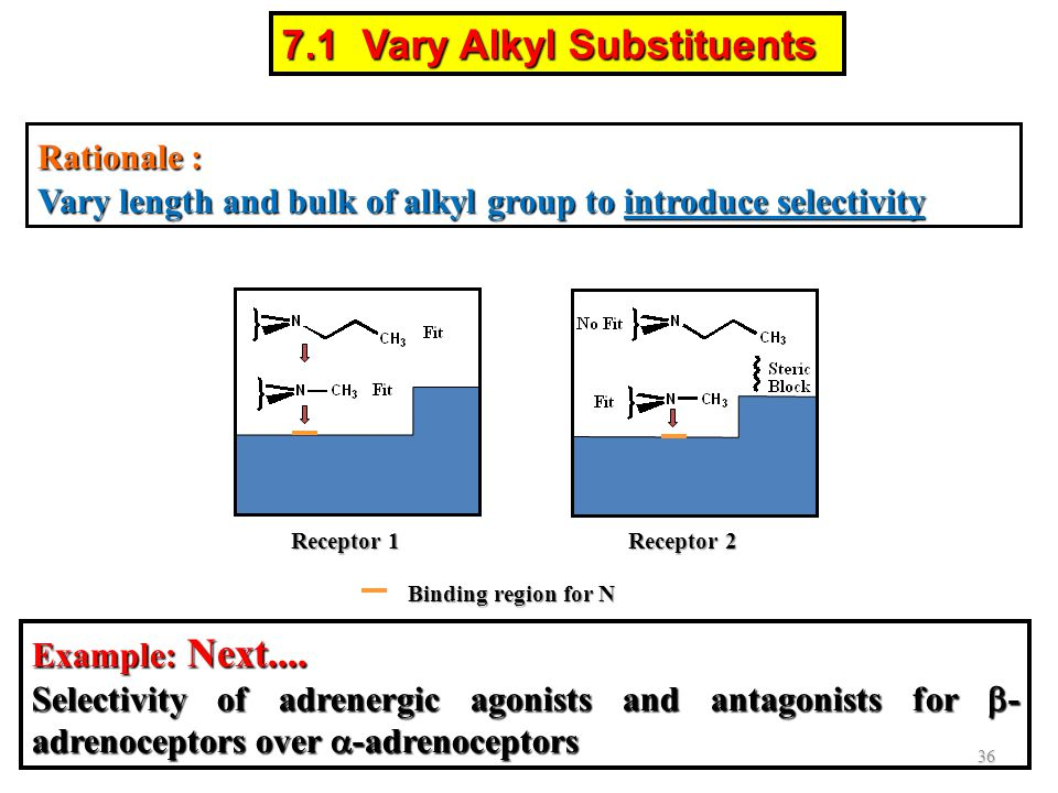 Rationale : Vary length and bulk of alkyl group to introduce selectivity Binding region for N Receptor 1 Receptor 2 36 7.1 Vary Alkyl Substituents Exa