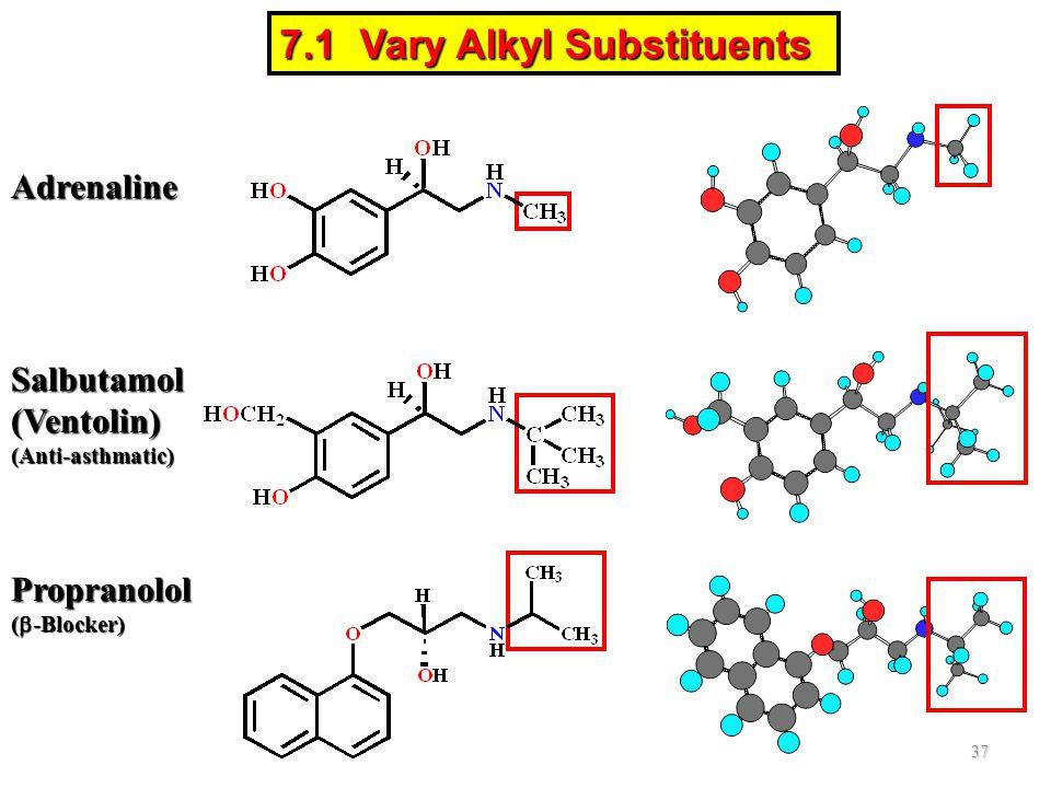Salbutamol(Ventolin)(Anti-asthmatic) Adrenaline Propranolol (  -Blocker) 37 7.1 Vary Alkyl Substituents