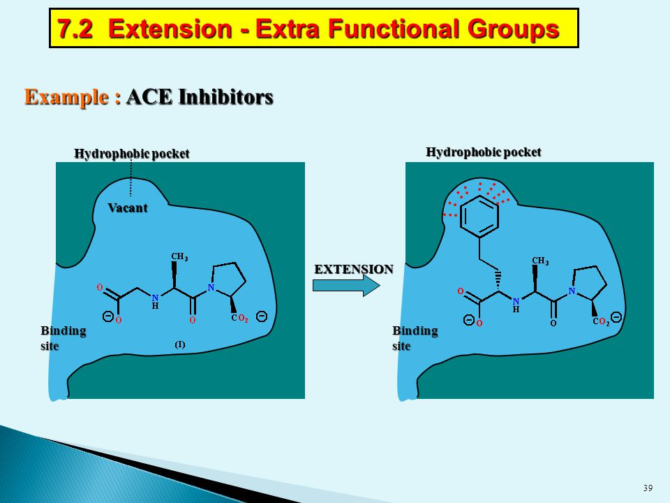 Example : ACE Inhibitors EXTENSION Hydrophobic pocket Bindingsite Bindingsite Vacant 39 7.2 Extension - Extra Functional Groups