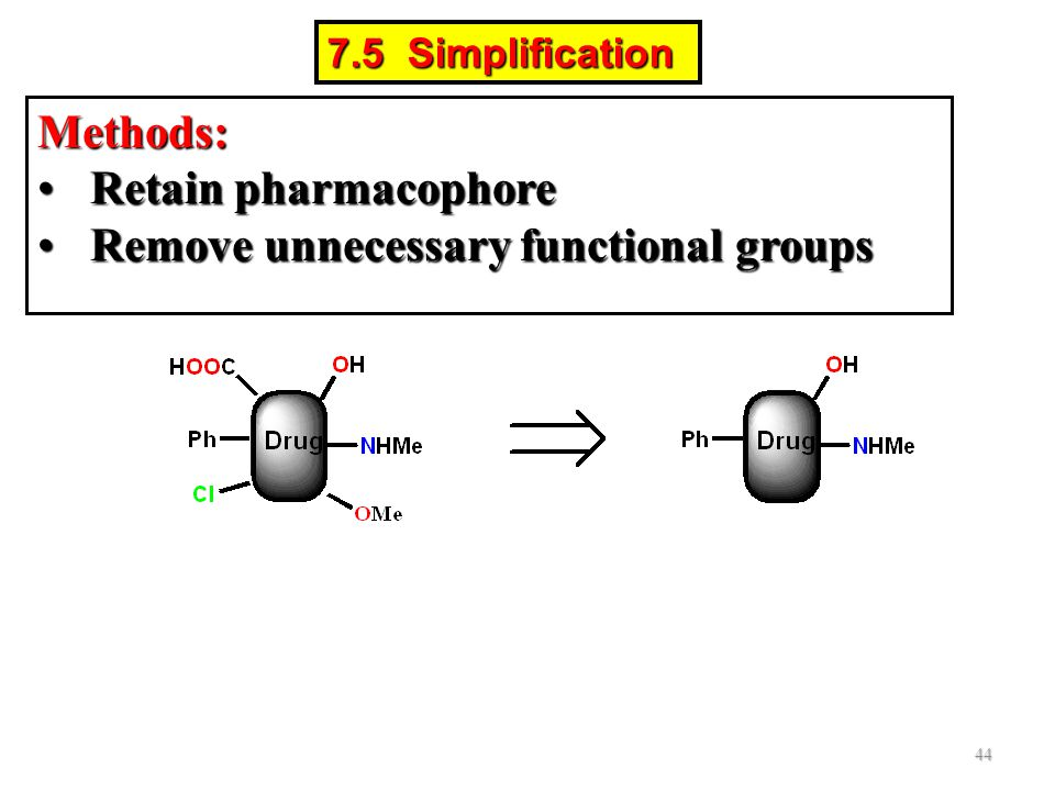 Methods: Retain pharmacophoreRetain pharmacophore Remove unnecessary functional groupsRemove unnecessary functional groups 44 7.5 Simplification
