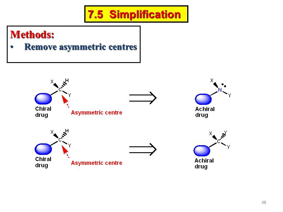 Methods: Remove asymmetric centresRemove asymmetric centres 46 7.5 Simplification