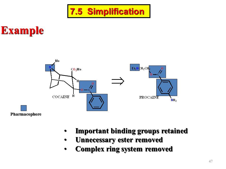 Pharmacophore Example Important binding groups retainedImportant binding groups retained Unnecessary ester removedUnnecessary ester removed Complex ri