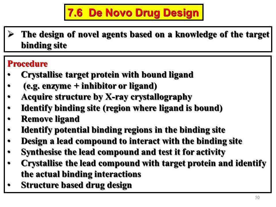 7.6 De Novo Drug Design Procedure Crystallise target protein with bound ligandCrystallise target protein with bound ligand (e.g. enzyme + inhibitor or