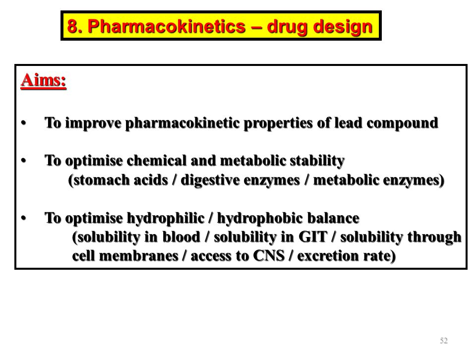 8. Pharmacokinetics – drug design Aims: To improve pharmacokinetic properties of lead compoundTo improve pharmacokinetic properties of lead compound T