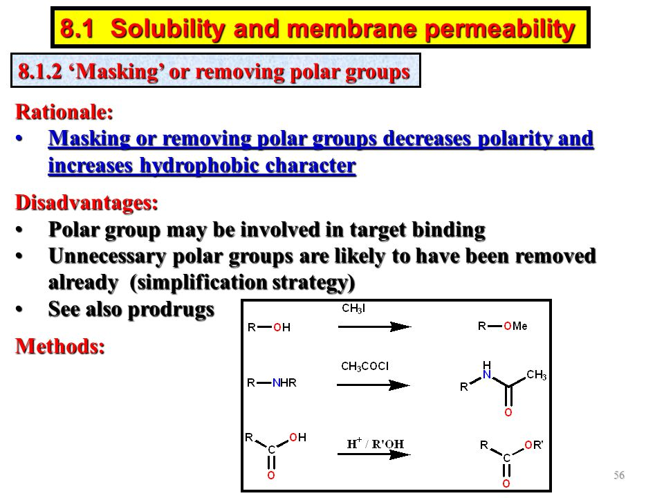 8.1.2 'Masking' or removing polar groups Rationale: Masking or removing polar groups decreases polarity and increases hydrophobic characterMasking or