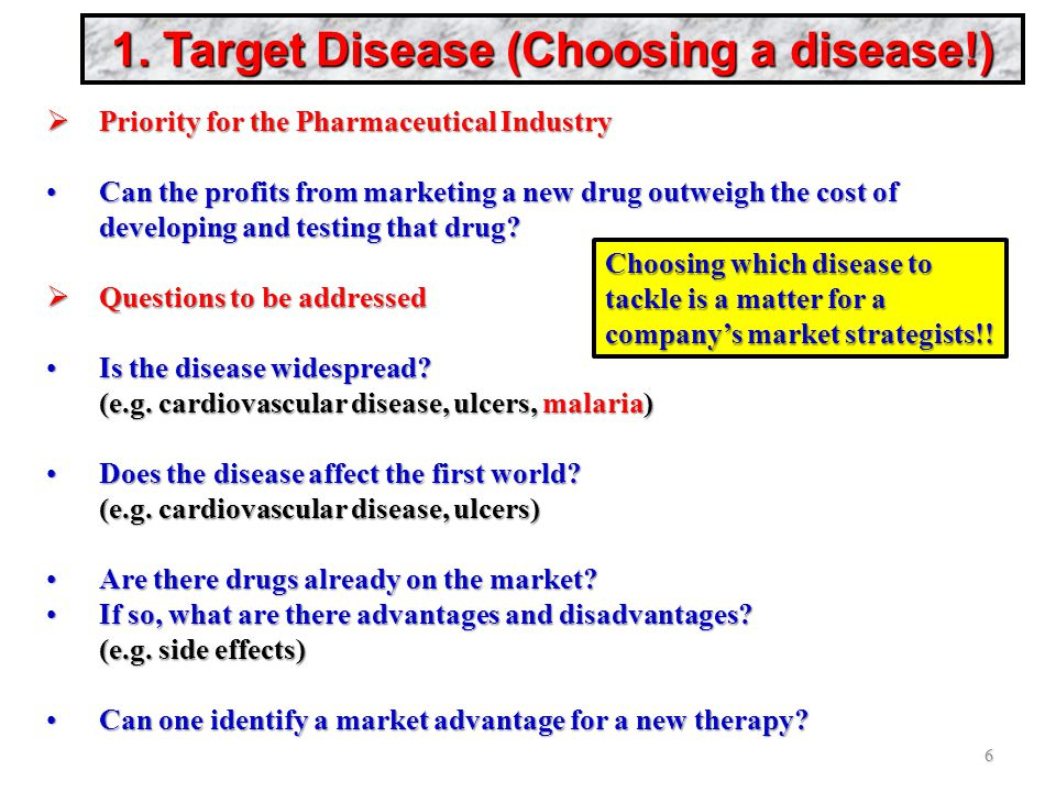 1. Target Disease (Choosing a disease!)  Priority for the Pharmaceutical Industry Can the profits from marketing a new drug outweigh the cost of deve