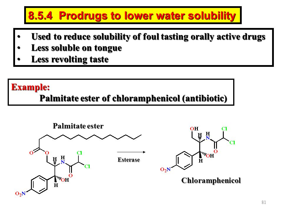 8.5.4 Prodrugs to lower water solubility Example: Palmitate ester of chloramphenicol (antibiotic) Palmitate ester Esterase Chloramphenicol 81 Used to