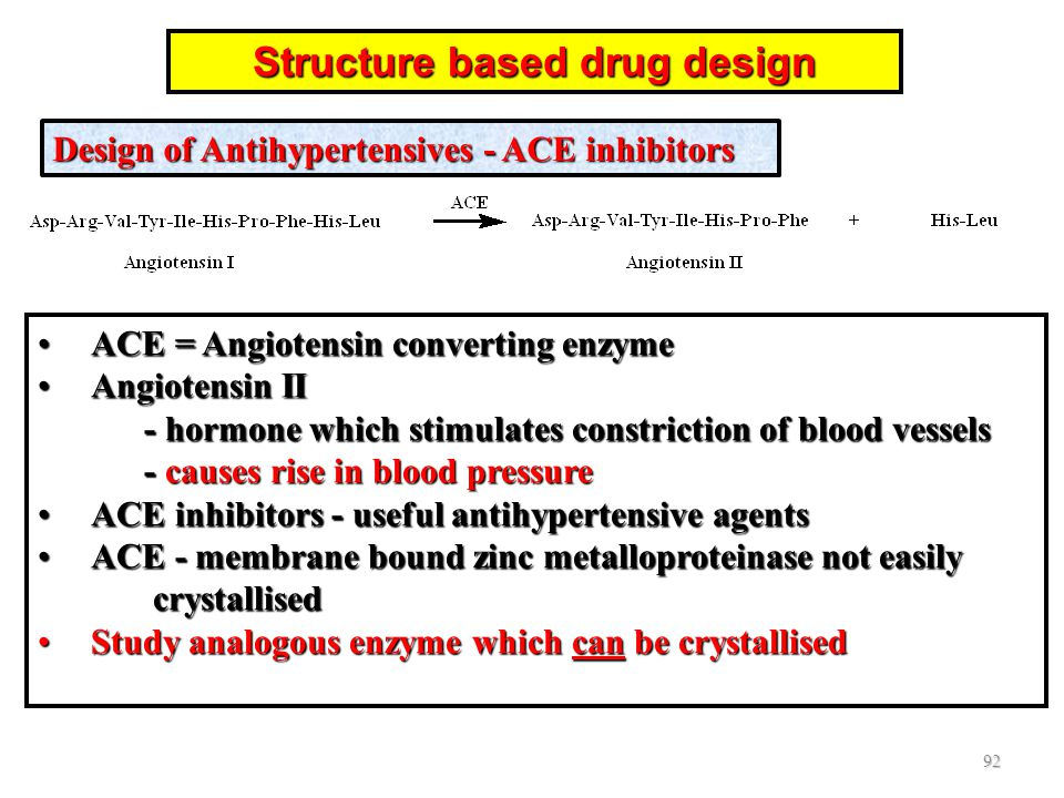 ACE = Angiotensin converting enzymeACE = Angiotensin converting enzyme Angiotensin II - hormone which stimulates constriction of blood vessels - cause