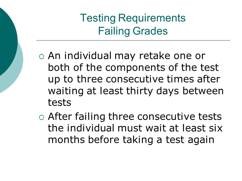 Testing Requirements Failing Grades  An individual may retake one or both of the components of the test up to three consecutive times after waiting at least thirty days between tests  After failing three consecutive tests the individual must wait at least six months before taking a test again