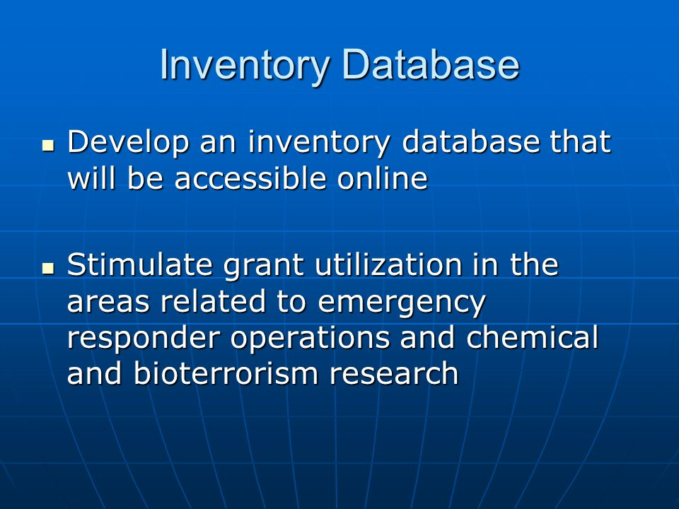 Inventory Database Develop an inventory database that will be accessible online Develop an inventory database that will be accessible online Stimulate