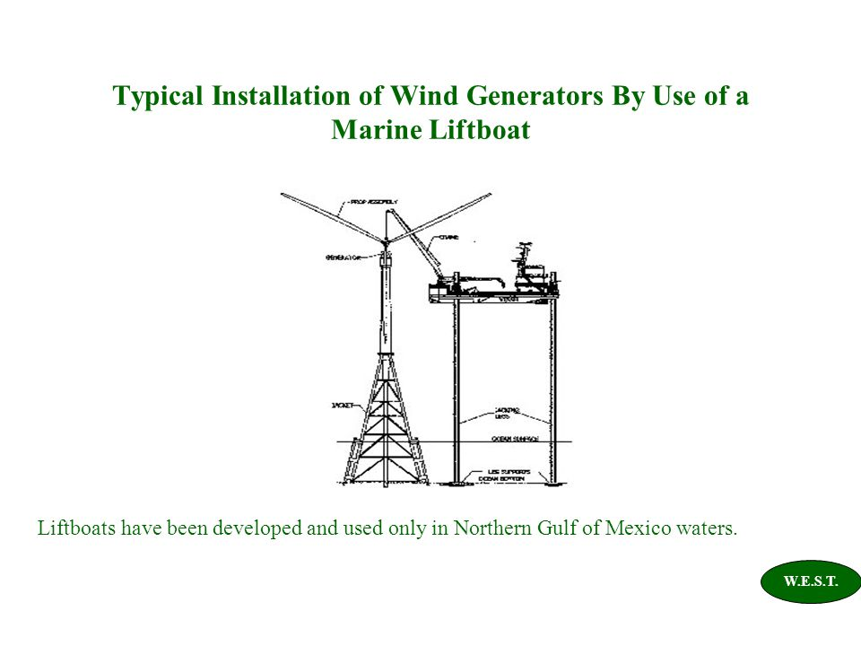 Typical Installation of Wind Generators By Use of a Marine Liftboat Liftboats have been developed and used only in Northern Gulf of Mexico waters. W.E