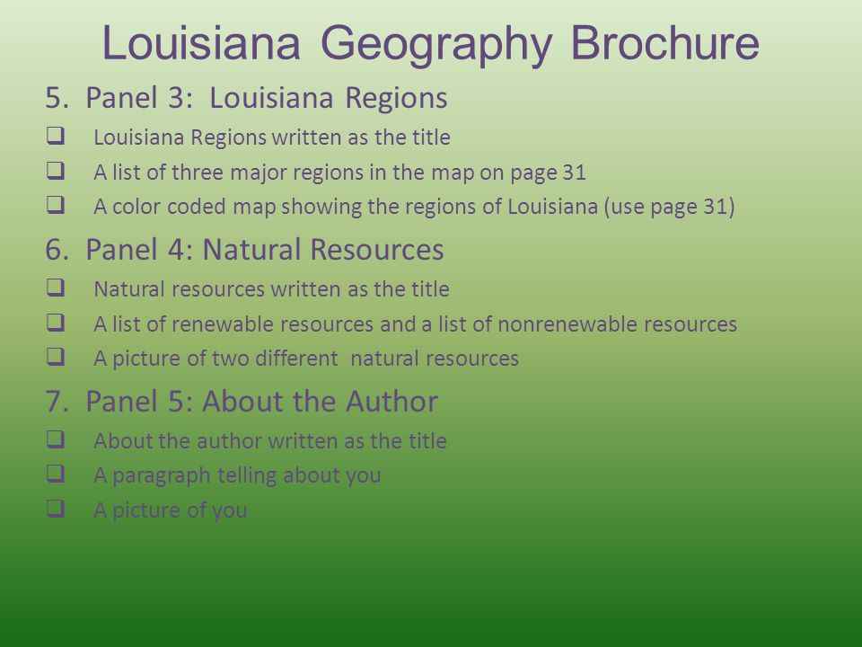 Louisiana Geography Brochure 5.