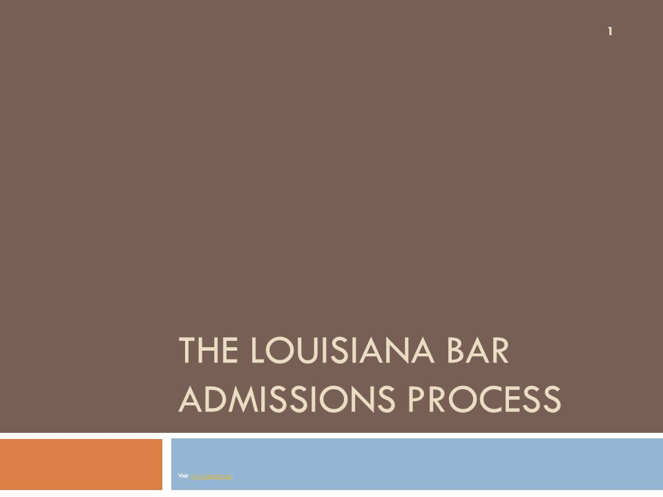 Law Student Registrants: Time to sit for the Bar 22 When it is time for a Law Student Registrant to apply to sit for the bar examination (a few months prior to the exam), he or she must submit a:  a BAR EXAMINATION APPLICATION with the Committee.