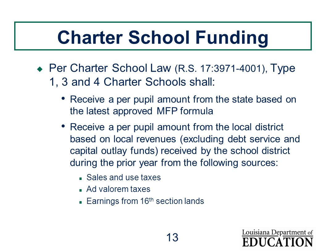 13 Charter School Funding  Per Charter School Law (R.S. 17:3971-4001), Type 1, 3 and 4 Charter Schools shall: Receive a per pupil amount from the sta