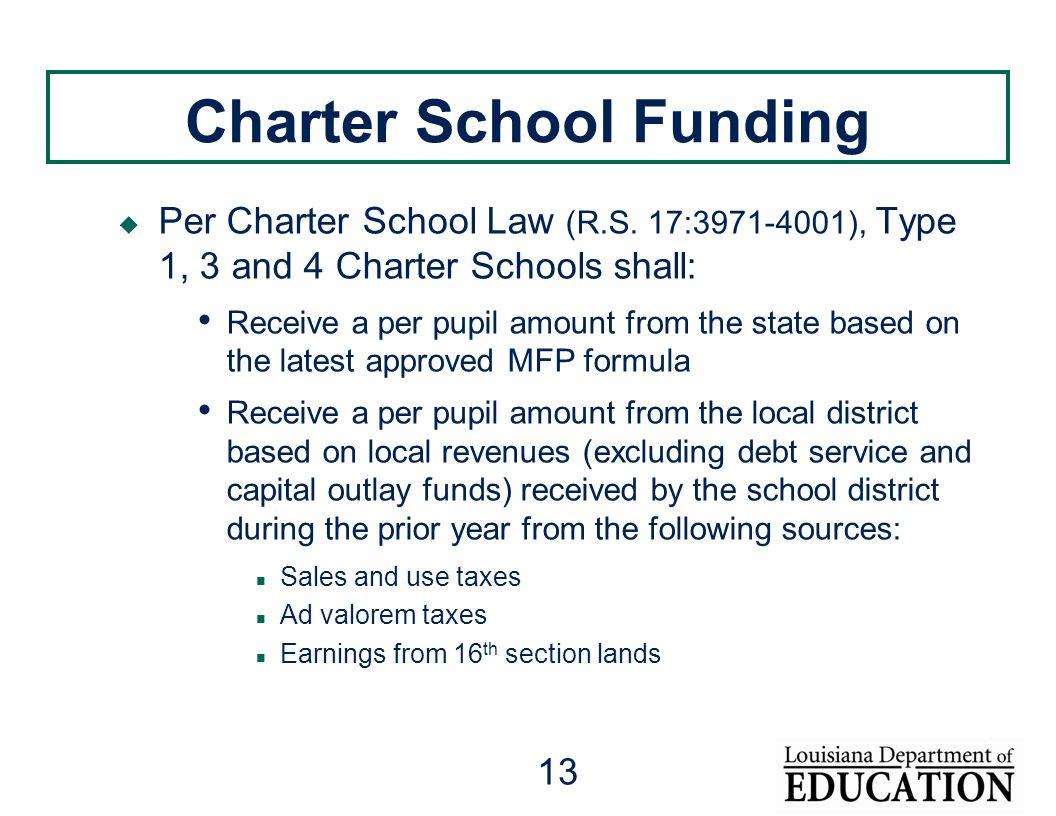 13 Charter School Funding  Per Charter School Law (R.S.