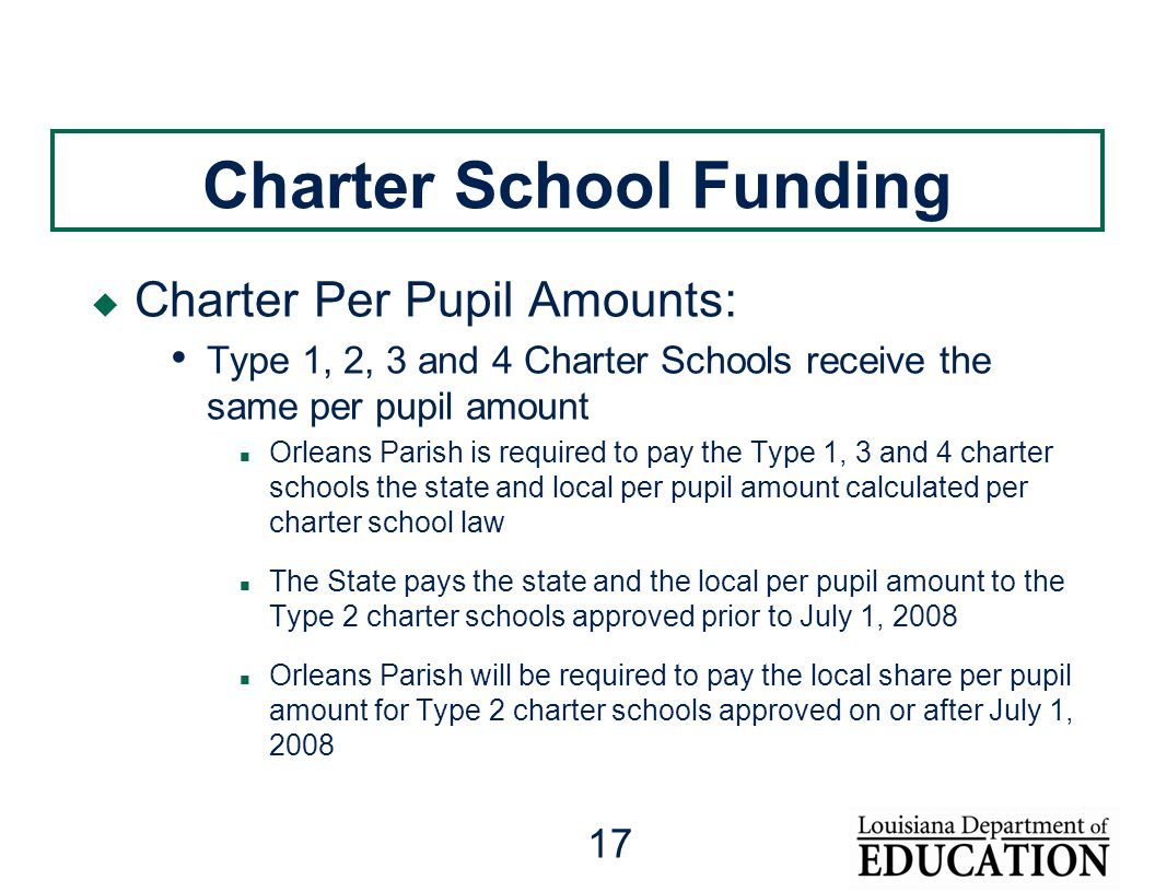 17 Charter School Funding  Charter Per Pupil Amounts: Type 1, 2, 3 and 4 Charter Schools receive the same per pupil amount Orleans Parish is required to pay the Type 1, 3 and 4 charter schools the state and local per pupil amount calculated per charter school law The State pays the state and the local per pupil amount to the Type 2 charter schools approved prior to July 1, 2008 Orleans Parish will be required to pay the local share per pupil amount for Type 2 charter schools approved on or after July 1, 2008