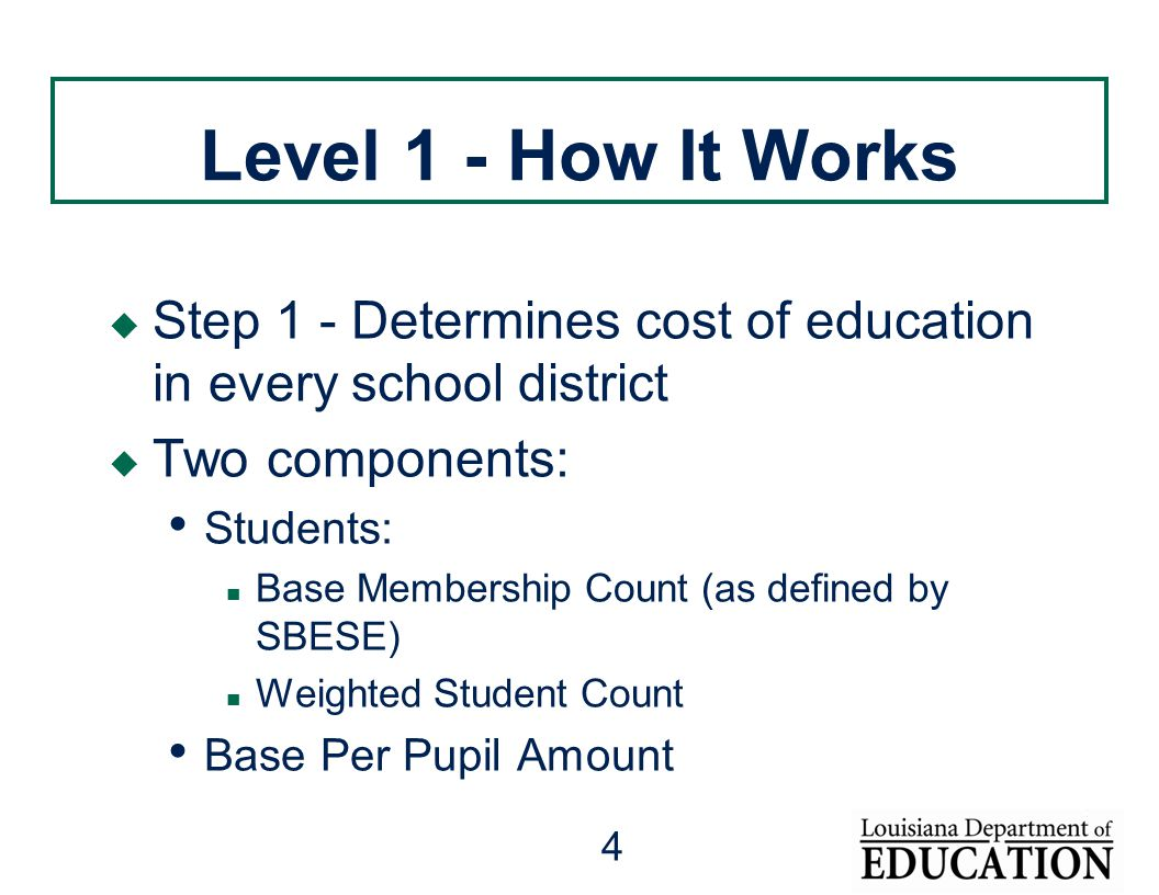 4 Level 1 - How It Works  Step 1 - Determines cost of education in every school district  Two components: Students: Base Membership Count (as defined by SBESE) Weighted Student Count Base Per Pupil Amount