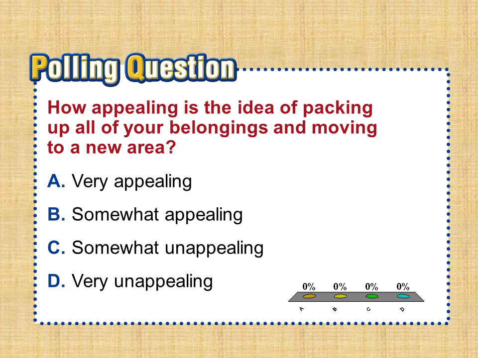 A.A B.B C.C D.D Section 2-Polling QuestionSection 2-Polling Question How appealing is the idea of packing up all of your belongings and moving to a new area.