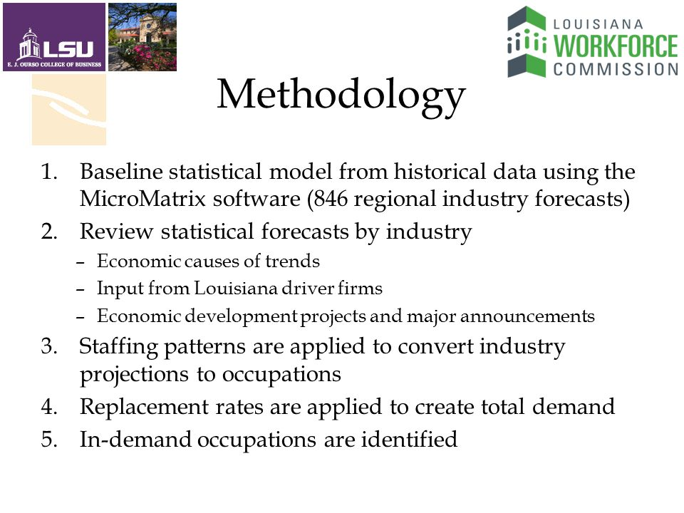 Methodology 1.Baseline statistical model from historical data using the MicroMatrix software (846 regional industry forecasts) 2.Review statistical forecasts by industry –Economic causes of trends –Input from Louisiana driver firms –Economic development projects and major announcements 3.Staffing patterns are applied to convert industry projections to occupations 4.Replacement rates are applied to create total demand 5.In-demand occupations are identified