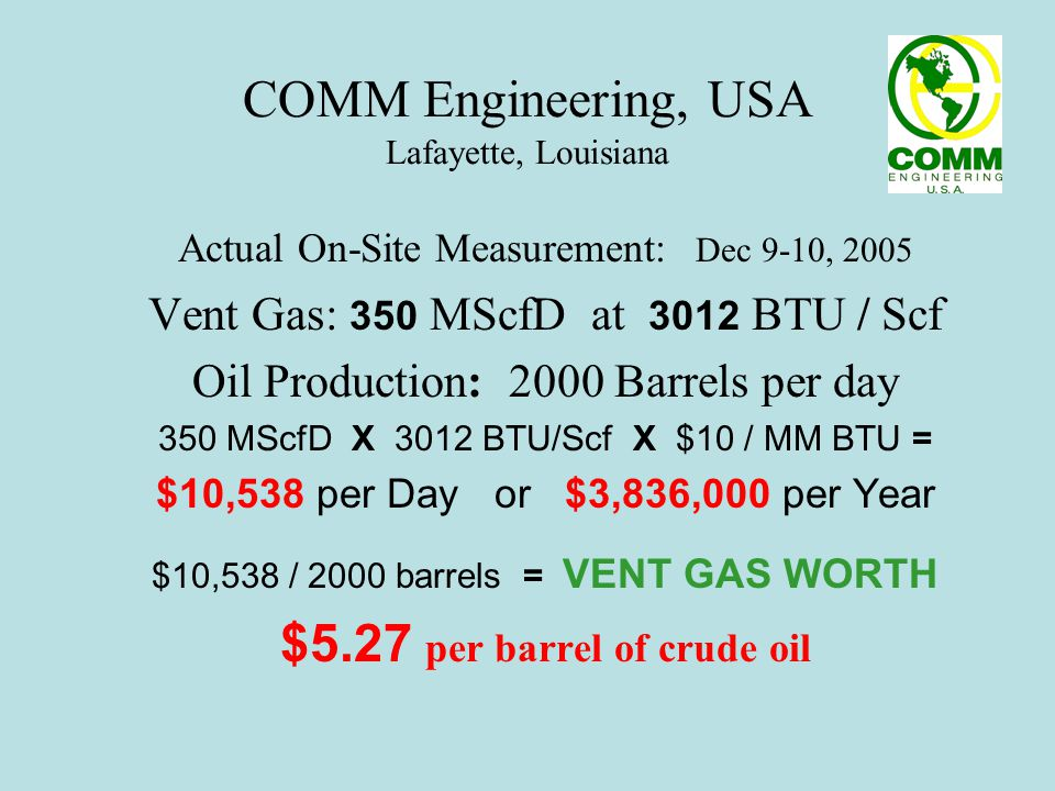 COMM Engineering, USA Lafayette, Louisiana Vent Ga $ : IT I$ A Revenue $ tream Provided by NEW TECHNOLOGY