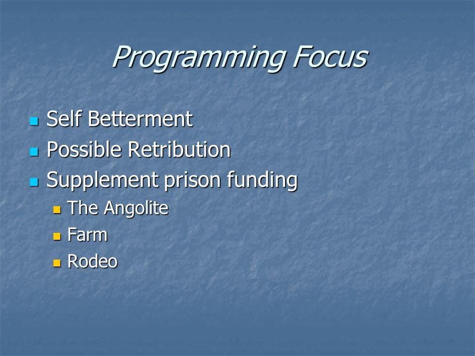 Programming Focus Self Betterment Self Betterment Possible Retribution Possible Retribution Supplement prison funding Supplement prison funding The Angolite The Angolite Farm Farm Rodeo Rodeo