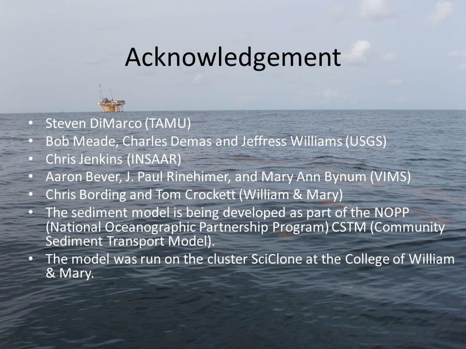 Acknowledgement Steven DiMarco (TAMU) Bob Meade, Charles Demas and Jeffress Williams (USGS) Chris Jenkins (INSAAR) Aaron Bever, J.