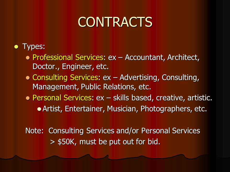 CONTRACTS http://www.ulm.edu/forms/ http://www.ulm.edu/forms/ Must have: Purchase Requisition IS required Basic Contract Basic Contract Goals and Objectives Goals and Objectives Monitoring Plan Monitoring Plan Certification Letter addr to Susan Smith (DOA) Certification Letter addr to Susan Smith (DOA) Evaluation (when contract completed) Evaluation (when contract completed) Obtain IRS Form W-9 for Accounts Payable Obtain IRS Form W-9 for Accounts Payable