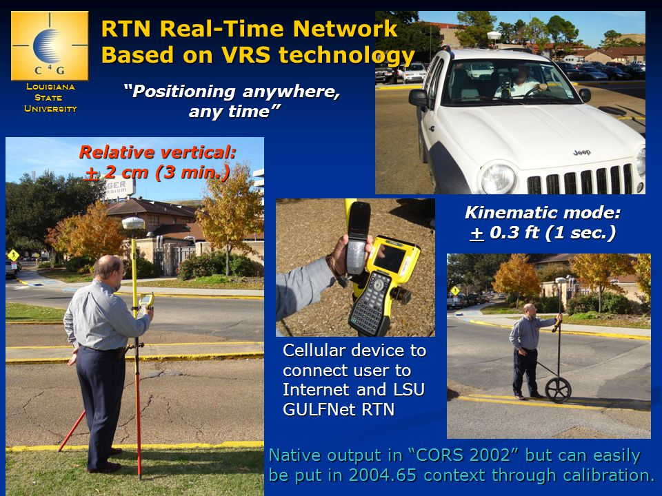 LouisianaStateUniversity RTN Real-Time Network Based on VRS technology Positioning anywhere, any time Cellular device to connect user to Internet and LSU GULFNet RTN Kinematic mode: + 0.3 ft (1 sec.) Relative vertical: + 2 cm (3 min.) Native output in CORS 2002 but can easily be put in 2004.65 context through calibration.